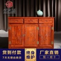 ** 仿古红木家具餐边柜  低调优雅餐厅餐边柜 新款储物式柜子